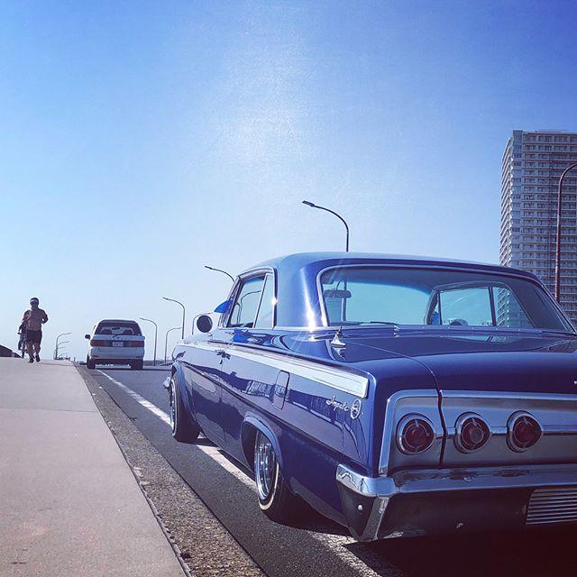 Pitlineに在庫あったので復活️ センターサポートかと思いきや、ペラもダメでした  スゲ〜静かになったwよっちゃんありがとうございましたw試乗がてら千葉のPCHまでドライブw 気持ち良すぎw #pitline #impala #lowrider #62impala #62 #ナンパ橋 #pch #pacificcoasthighway